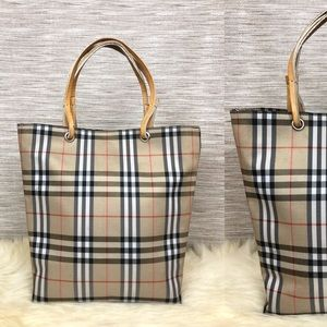 Burberry Vintage Leather Strap Check Mini Tote Bag